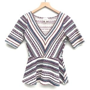 Anthropologie Tops - Anthro Deletta White Stripe Peplum Top - Size S
